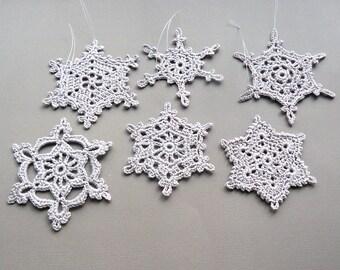 6 Gray Crochet Snowflakes -- Large Snowflake Assortment SG3