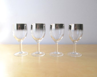 silver ombre fade wine glasses luminarc france set of four or set of eight