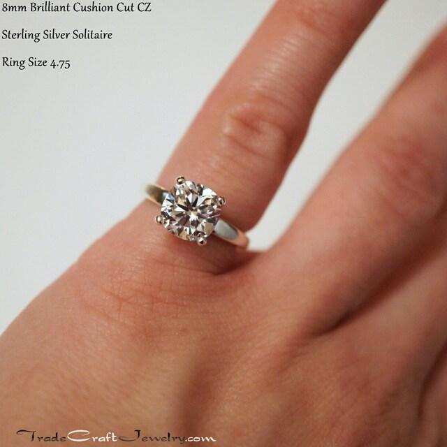 1 year cushion cut cz engagement ring - Size 4 Wedding Rings