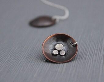 Mixed metal earrings, copper and silver earrings