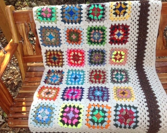 Traditional Cream Granny Square Afghan with Kaleidoscope Colors Speckled brown border