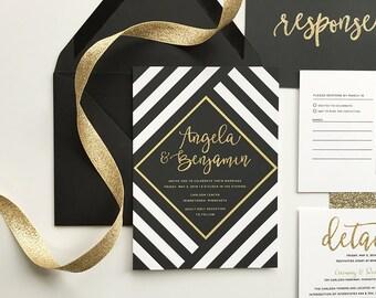 black and gold wedding invitations, black and white stripe wedding, black and white wedding invite, gold glitter, glam wedding