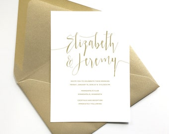 elegant gold wedding invitations, script lettering , formal wedding invite, gold and white wedding invitation, printed invitation suite