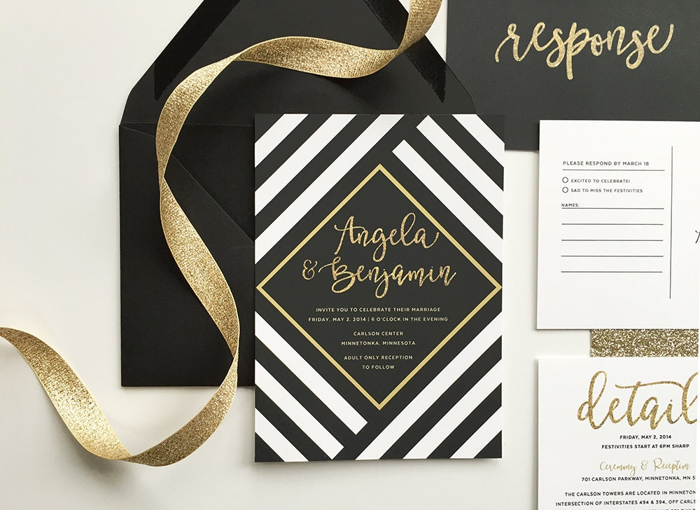 Striped Wedding Invitations: Black And Gold Wedding Invitations Black And White Stripe