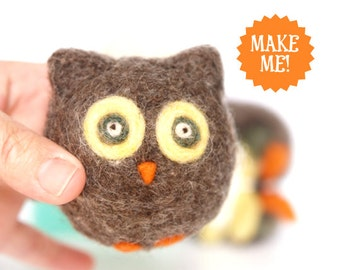 Owl Needle Felting Kit - Needle Felted Owl Kit - Beginner Starter Kit - DIY Owl Kit, DIY Craft Kit, DIY Home Decor Supplies - Pattern