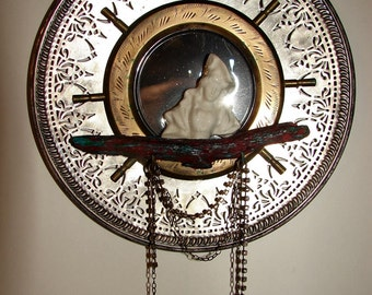 Mystic Lady Pirate mirror assemblage art by Lisa McPike Smith of Hep Cat Artworks