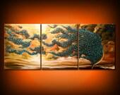 original abstract art painting metallic gold tree painting 66 x 28 yellow cloud impressionist original abstract landscape impasto wall decor