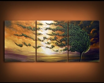 72 x 30 x 1.5 inch art painting windblown tree large abstract painting wall art wall decor artwork
