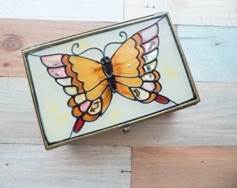 Vintage Butterfly Glass and Brass Jewelry Storage Box