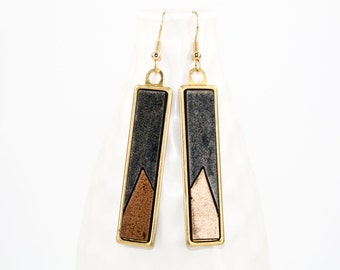 Modern Geometric Dangle Earrings - Two-Tone Glossy Laminate - Laser Cut Offset Triangle Design in Brass Setting (Charcoal & Copper)