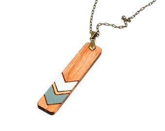 Geometric Chevron Pendant - Painted Wood (Natural Maple / Slate Blue and Pale Blue)