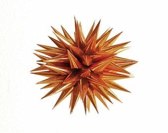 Copper Paper Christmas Tree Ornament, Polish Star, Christmas Holiday Tree Decor, Colorful Metallic Orange Decoration - New Copper,  3 inch