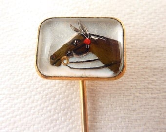 Vintage Reverse Painted Horse Glass Intaglio Swank Gold-plated Stick Pin