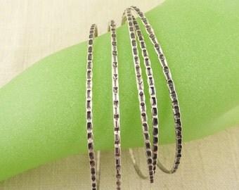 Group of Five Vintage Sterling Wavy Stacking Bangle Bracelets