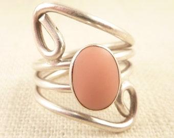 Size 8.5 Large Vintage Openwork Sterling Ring with Pink Enamel Oval Center