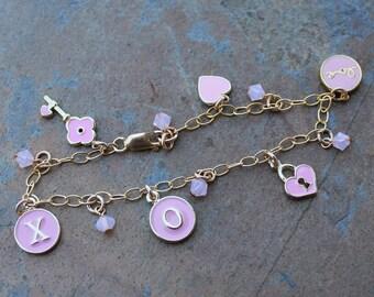 Pink & Gold XO Key to My Heart Charm Bracelet - enameled heart lock, key, X, O, Love  charms - 14k gold filled chain - free shipping USA