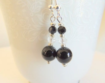 Black Tourmaline Earrings, Sterling Silver Jewelry, Dangle Earrings, Handcrafted Jewelry, Gemstone Jewelry, Black and Crystal