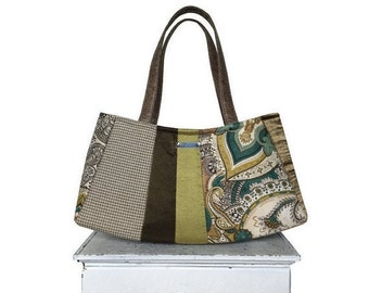 On Sale Large Satchel APPLE MARTINI =  autumn fall purse apple green taupe bronze cream houndstooth paisley vegan leather handmade purse jen