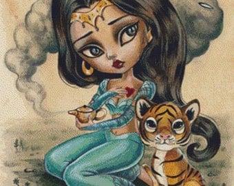 Cross stitch kit, 'Jasmine', Simona Candini - Needlecraft kit, Genie, Magic Lamp, Tiger Cub Cross Stitch, Fairy Tale, DMC Materials