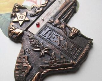 Vintage Texas Theme Mercury Thermometer * Copper * Metal * Temp Gauge
