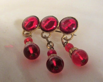 Firey Brass and Glass Dangle Pin Vintage Antique 1920's