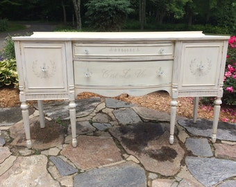 Sideboard Chalk Painted inFrench White with French Stencils, French Country, PaRiS aPaRtMeNt ChiC, Farmhouse Chic! FREE SHIPPING!