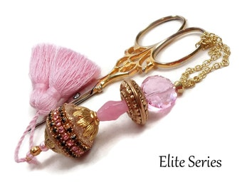 Pink Gold Scissor Fob Beaded Scissor Keeper Victorian Scissor Minder Elite Series Needlepoint Quilting Sewing Cross Stitch