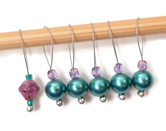 Knitting Stitch Markers Snagless Teal Purple Knitting Tools Beaded Gift for Knitter Snag Free Knitting Supplies DIY Knitting