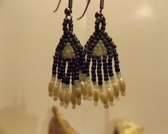 Native American inspired Bead Earrings, Woven Bead Work Earrings, Native American Jewelry, Seed Bead, Woven Bead Earrings, Healing Jewelry
