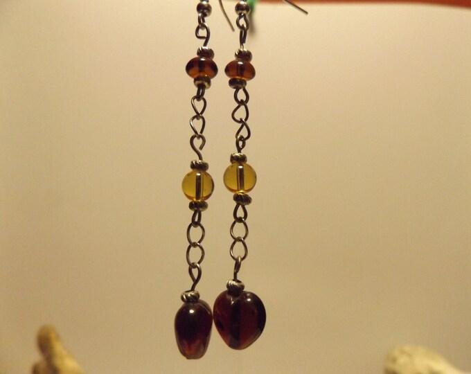 Hearts on a Chain, Glass Bead, Long Dangle Earrings, Hearts