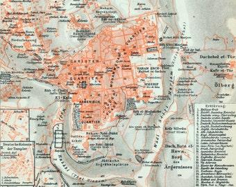 Antique Map of Jerusalem - Vintage Map of Old and New Jerusalem - 1902 Map - Holy Land