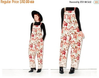 OMG HALF OFF Vintage Floral Overalls onsie jumpsuit size medium