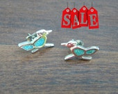 Vintage Sterling Silver and Turquoise Roadrunner Earrings Tiny