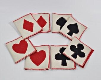 8 Vintage Hand Made Fabric Bridge Tallies Suit Designs