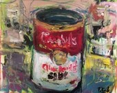 Original expressionist painting of soup can red white green, impressionist modern art wall decor still life painting, Russ Potak