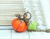 Orange Pumpkin Necklace Thanksgiving Necklace Autumn Jewelry Halloween Necklace Pumpkin Jewelry