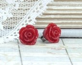 Red Rose Studs Rose Stud Earrings Red Rose Earrings Small Rose Earrings Hypoallergenic Red Flower Earrings