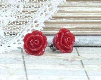 Red Rose Studs Rose Stud Earrings Red Rose Earrings Small Rose Earrings Hypoallergenic Red Flower Earrings