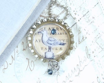 Seagull Necklace Nautical Necklace Ocean Necklace Bird Necklace Bottle Cap Necklace Beach Necklace