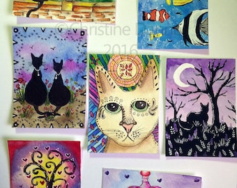 Original Art Lot of 7 ACEO Art Cards Cats Fish Love Paintings
