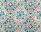 Indoor Outdoor Fabric with Mediterranean Tile Print in Turquoise and Coral on White