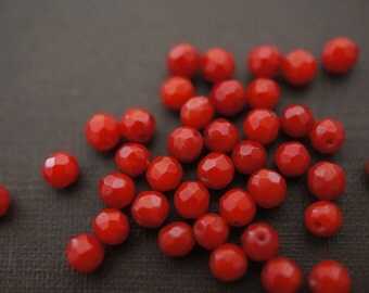 Faceted Dark Red Belgium Coral Round Beads - 4mm (with coral marks) - 40 pcs