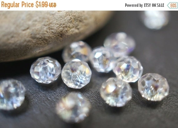 FALL CLEARANCE Czech Glass Faceted Clear with AB Tint Rondelle Beads - 4mm - 20 pcs