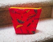 Zipper Pouch, Makeup bag, Umbrella Fabric Print, Toiletry Bag, Boxed Small Cosmetic Case, Gift, Travel Case