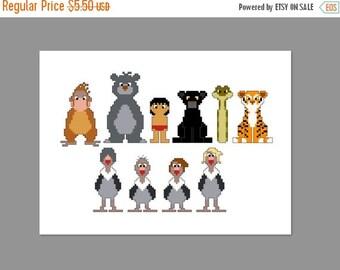 SALE Jungle Book Pixel People Cross Stitch Pattern PDF ONLY