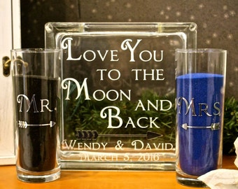 Unity Sand Ceremony Glass Containers - Glass Block with Love You to the Moon and Back - Personalized - Side vessels Mr. Mrs. with Arrows