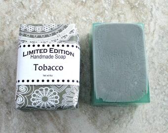 Tobacco Handmade Soap, Gentle soap recipe, block shape, smoky green colored soap