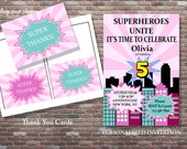 Girls Superhero Birthday Invitation and Thank You Cards,Personalized Birthday Invitation,DIY PRINTABLE,Girls CUSTOM Birthday Invitations