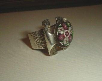 Sterling silver ring Caithness millefiori glass modernist full English hallmark London vintage 1970 size 5.5 - 6 UK L M