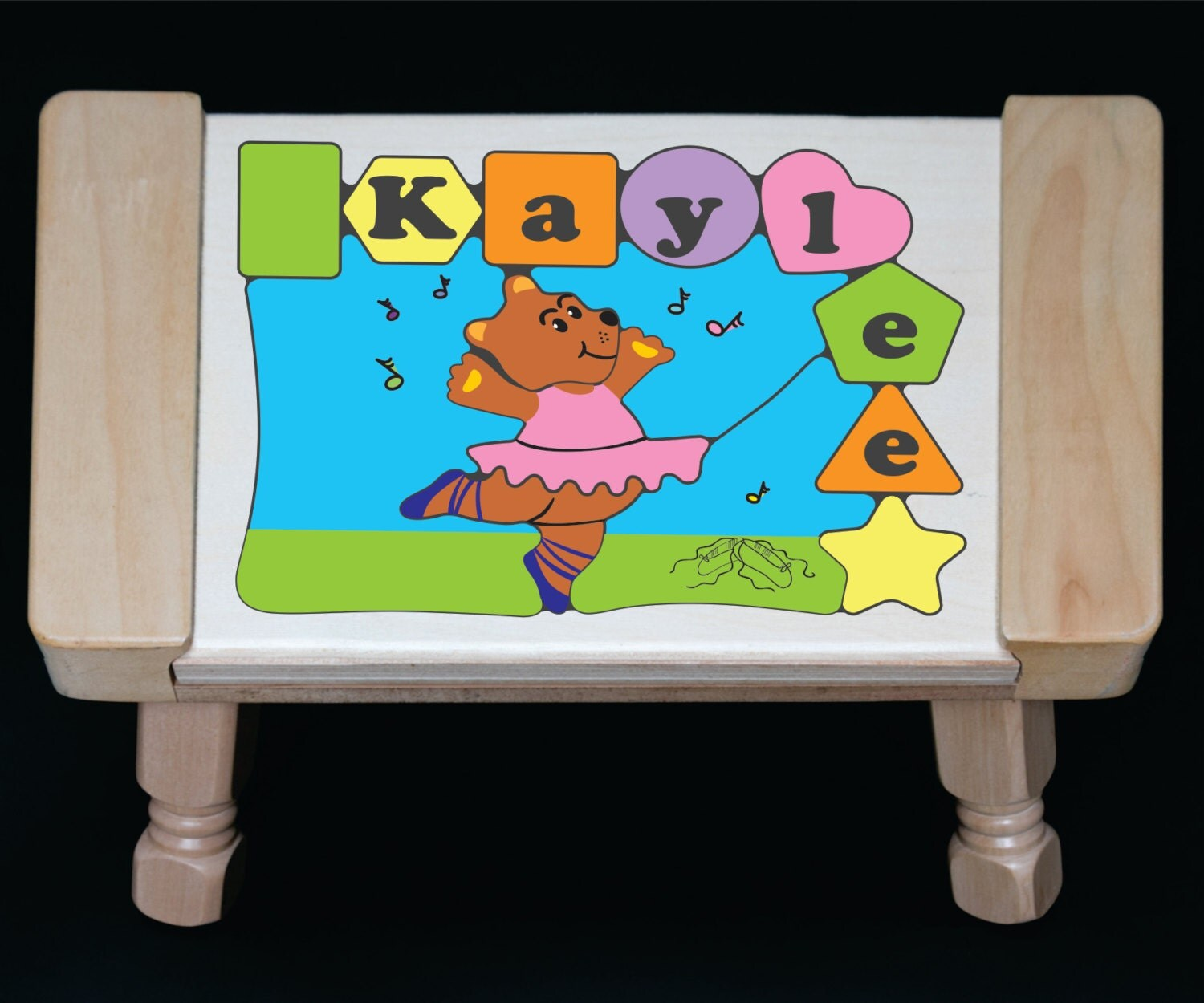 Personalized Ballerina Dancing Bear Name Puzzle Stool Puzzle